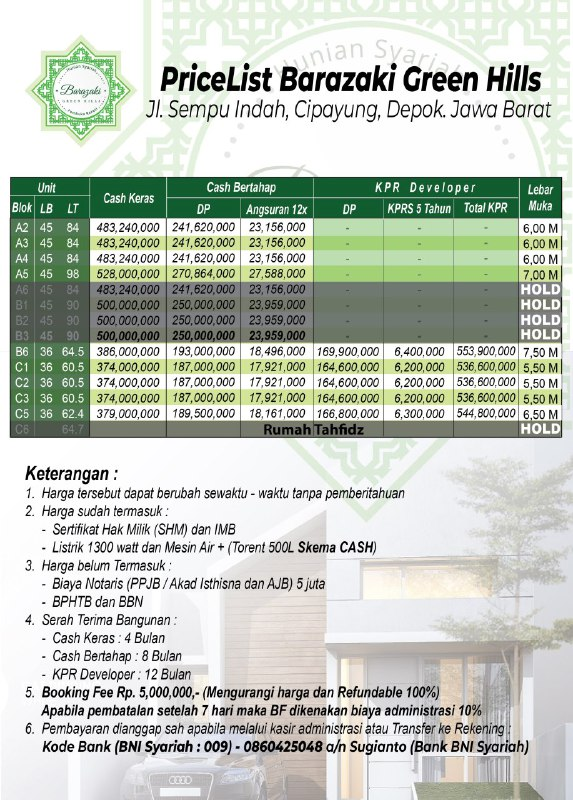 Barazaki Green Hills Price