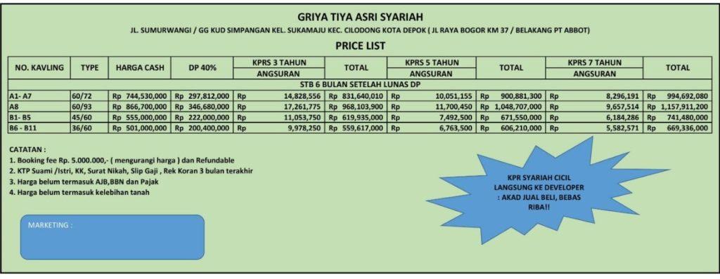 Griya Tiya Asri price